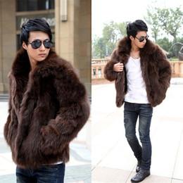 Wholesale fox fur leather jacket men - Wholesale- Short Black Men's Faux Fox Fur Overcoat Fur Lapel Thickening Warm Leather Jackets Men's Fur Coat