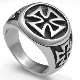 Wholesale Knights Cross - Stainless Steel Black Iron Cross Ring Size 7-15 Knight Templar Crusade Army Biker Punk Dad Cocktail