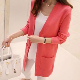 Wholesale korean cardigans women - New Women Spring  Autumn Sweater 2018 Long Cardigan Korean Slim Pocket Loose Knit Sweater Outwear Coat