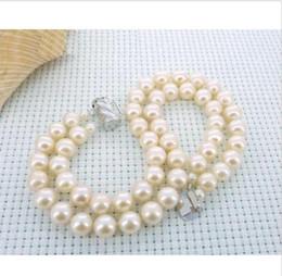 Wholesale South China Sea Black Pearls - 2 ROW NATURAL 9-10MM AUSTRALIAN SOUTH SEA WHITE PEARL BRACELET 14K WHITE GOLD