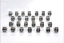 Wholesale Enamel Beads Big Hole - 2016 New A-Z Letter Heart Triangle Black Enamel Big Hole Beads Fit European Charm Bracelet Jewelry DIY 9.5X7mm