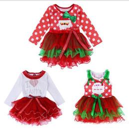 robes de Noël pour les filles 2016 Christmas Girls Tutu Dress Dots Red Père Noël vêtements pour enfants Parti filles Vêtements à manches longues robe de bébé ? partir de fabricateur