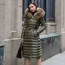 Wholesale Coats Fur Hoods - Real Fur Winter Down Jacket Women Hood Coat 2018 Brand New Big Raccoon Fur Collar Army Green Casual Long Slim Warm Parka S~6XL