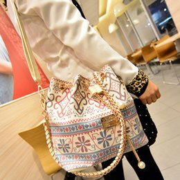 Wholesale Drawstring Bucket Bag Handbag - Bohemia Canvas Drawstring Bucket Bag Shoulder Handbags Women Messenger Bags Multi Purposes Tote Stitching Casual Crossbody Bag