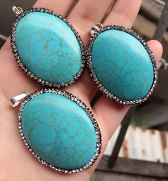 Wholesale Druzy Bracelets - Free shipping 3pcs Necklace Pendant,Natural Druzy turquoise Stone &Rhinestone Crystal Connector Beads For Making Bracelet, Jewelry findings