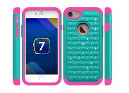 Wholesale Studded Iphone Case Wholesale - Bling Diamond Hybrid Armor Defender Cases for iPhone 6 6s Plus 6Plus Studded Rhinestone Slim 2 in 1 Silicone PC Hard Back Covers