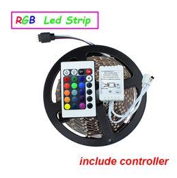 Wholesale Ir Light Bar - LED Strip light SMD 3528 DC12V 5M 300led flexible safe LED bar light high brightness Non-waterproof 24Key IR remote controller(only for RGB)