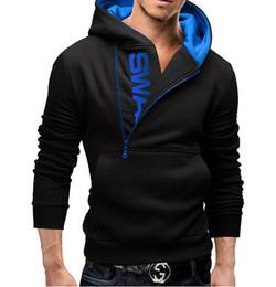 Wholesale Mens Zip Up Hoodie Black - Plus Size M-5XL 2016 Fashion Mens Hoodies Patchwork Long Sleeve Casual Pullover Hoodies zip up Hombre Hip Top Men Hooded Sweatshirt men