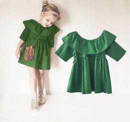 Vestidos de tutú verde online-Lindo vestido de muñeca 2016 SpringSummer ropa para niños Vestido de niña de moda TuTu Baby Girls vestido de fiesta de madera verde 1-4Y