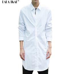 Wholesale Black Designer Blouses - Wholesale-Men Plaid Long Dress Shirts Hip Hop Casual Swag Blouse Men 2016 Hot Mens Designer Shirts Curved Hem Famous Brand SMA0169-4.5