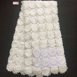 Wholesale Plain Colored Dresses - African Lace Hot Sell 2017 New Arrival Plain White Wedding dresses African Water soluble guipure lace Fabric High Quality Corded lace W2-361
