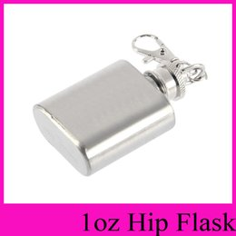 Wholesale Whisky Flasks - 2016 NEW HOT portable party outdoor Keychain 1oz Stainless Steel Whisky Liquor Alcohol Pocket Hip Flask,oil bottle with Key chains