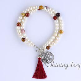 cultured pearls strands UK - cultured freshwater pearl bracelet tree of life charm bracelet yoga jewelry boho jewelry wholesale real pearl jewellery boho bracelets