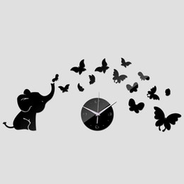 Wholesale Mirror Wall Elephant - 2016 sale Acrylic Quartz clock wall watch baby elephant butterflies art mordern design diy 3d mirror sticker decor freeshipping TY1964