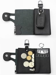Wholesale Used Car Keys - 2016 High Quality Leather Key Wallets 3 Use Key Cover Key Case for Car Key Store Coin Purses Bage with Boutique Gifts Bag