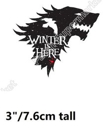 Wholesale Military Cosplay - Game of Thrones HOUSE STARK iron on Patch TV Series Tactical Military Army Badge winter is here Halloween costume cosplay
