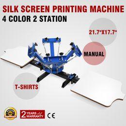 Wholesale T Shirts Screen Printing Machine - Free Shipping 4 Color 2 Station Silk Screen Printing Machine T-shirts Cap Carousel Manual Wood Glass 110 220V