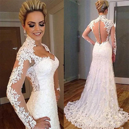 Wholesale Sexy Fishtail Dresses - Sexy Illusion Back V Neckline Bridal Gowns Fishtail Long Sleeve Lace Mermaid Wedding Dresses Vestido De Novia