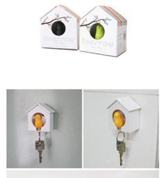 Wholesale Sparrow Key House - Hot selling Sparrow Bird House Nest Whistle Key Holder Chain Ring Keychain Holder Boxed 5pcs wholesale