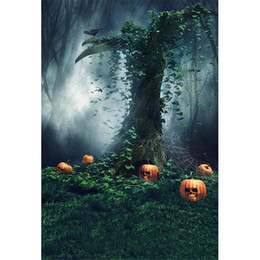 2019 fondali di fotografia di zucca Mysterious Forest Pumpkins Photography Sfondo Halloween Vacanze Old Tree Spider Web Bambini bambini foto sparare sfondi per Studio sconti fondali di fotografia di zucca