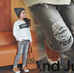 Wholesale Pants Boys Big - Kids jeans fashion children letter embroidery denim trousers girls boys hole cowboy long pants 2017 new big kids autumn clothing T4902