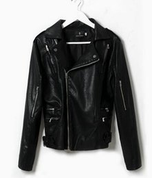 Wholesale Fashion Leather Garments - Han edition design brand fashion trend in the new spring and summer men's motorcycle leather garment leather jacket with stripes