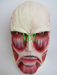 Wholesale Facial Muscles - New Arrival Attack On Titan Shingeki No Kyojin Latex Head Mask Horror Movie Halloween Costume Facial Muscles Mask Hot Sale Free Shipping