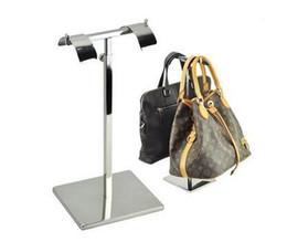 Wholesale Handbag Mirror Silver - Mirror Silver Metal Handbag Display Stand Adjustable Handbag Rack Double Sides Handbag Holder bag holder rack