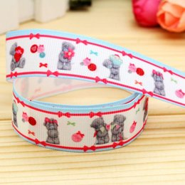 "Wholesale Grosgrain Ribbon Printed Bear - 7 8"" 22mm Bears Flower Bow Printed Grosgrain Ribbon DIY Hairbows Accessories Headwear Gift Wrapping Materials A2-22-2174"