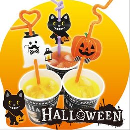Wholesale Lighted Halloween Bat - NEW Halloween Disposable Plastic Straw with flags kids Drinking straws   theme pumpkin ghost bat  cake toppers party decoration 12pcs