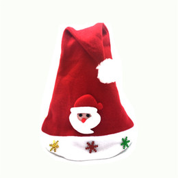 Wholesale Mini Santa Hats - 10Pieces  Lot Red Cap Santa Claus Hat With Mini Snowflake Christmas Hat For Children New Year Party Celebration Decoration