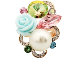 Wholesale Gold Multicolor Rings - high quality wholesale price popular flower style Austrian crystal rose gold plated multicolor adjustable size ring for lady