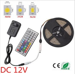 Wholesale Rgb Led 3528 Controller - Newest Super Bright IP20 RGB LED Strip Light 5630 3528 5050 SMD+44Keys Remote Controller+ EU US Plug 12V 2A Power Adapter
