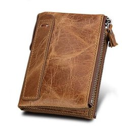 Wholesale Horse Coin Purse - Crazy Horse Genuine Leather Men Wallets Credit Business Card Holders Double Zipper Cowhide Leather Wallet Purse Carteira