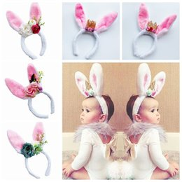 Wholesale Wholesale Artificial Flower Sticks - new rabbit ears baby headbands girls crowns artificial flowers hair accessories children bunny hairbands birthday party supplies photo props