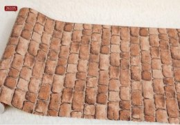 Wholesale Vinyl Wallcovering Wholesalers - 3d PVC small stone paper brick embossed textured Vinyl Tan vintage wall wallpaper roll 3D modern wallcovering papel de parede vintage W043