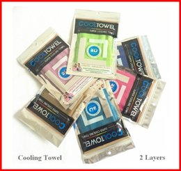 Wholesale Children Workouts - Double layers Cool Towel for Outdoor Sports 32cm*88cm Size Cooling Towels with Plastic Packaging Workout Ice Scarf 10 Colors OUT068