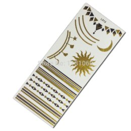 Wholesale Henna Temporary Tatoos - Temporary Tattoo Sleeve Taty Sun Moon Gold Flash Tatoo Henna For Body Flash Tattoos Metallic Gold Tatoos Tatuaje Metalico