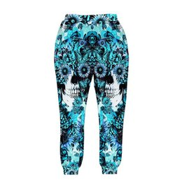 Wholesale woman s skull clothing - Skulls printing men women 3d pant print blue roses Sunflower and butterfly long trousers joggers autumn clothes