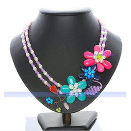 Wholesale Jade Flower Silver Necklace - Designer 2strands 20''inchs Cherry Quartz+Jade&Pearl Flower Necklace Fashion Woman's Jewelry Hot Sale New Free Shipping FN434