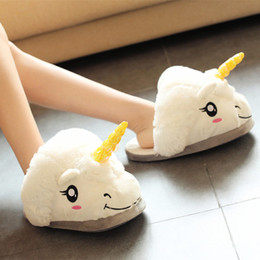 Wholesale Warm Slippers For Women - YXQ01New Fashion Plush Shoes Plush Unicorn Slippers for Grown Ups Winter Warm Indoor Slippers Comfortable Home Slippers
