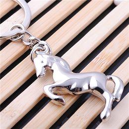 Wholesale Horse Key Rings - New Fashion Mini Pony Keychain Metal Pony Horse Badge Emblem Decorative Car Key Holder Fob Ring Keychain F396-1