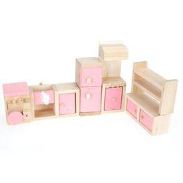 Wholesale Wooden Doll Kitchen - Wholesale- Pink Children Wooden Doll House Kitchen Furniture Kids Room