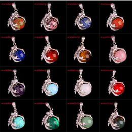 Wholesale Dragon Quartz - Natural Stone Pendulum Pendants Amethyst Opal Crystal Quartz etc Silver Plated Dragon Claw Reiki Charms Men Amulet Jewelry Mix Order