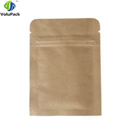 Wholesale Kraft Paper Zipper Top Bags - 8x11cm (3.5x4.25in) 100pcs Reclosable Package Flat Pouch 14 Wire Tear Notch Brown Kraft Paper Bags With Zipper Top