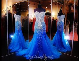 Wholesale Ocean Blue Gowns - 2016 Cheap Sexy New Sweetheart Tulle Ocean Blue Mermaid Evening Dresses Beaded Rhinestones Floor Length Party Prom Gowns PT2760