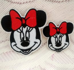 Wholesale Iron Embroidered Patch Minnie - Minnie Mouse Characters Iron On Sew Embroidered Cartoon Patch Shirt Kids Gift Shirt Bags Decorate Individuality Badge
