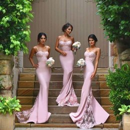 Wholesale Satin Column Bridesmaid Dress - 2017 Cheap New Pink Sexy Column Bridesmaid Dresses Spaghetti Straps Sweetheart Lace Appliques Backless Maid Of the Honor Dresses BA2752