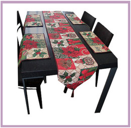Wholesale Table Runners Unique Cloth - Red Unique Christmas Holiday Table Runners Place-mat set Christmas Leaf Maple Leaf Basket Rectangle Table cloth Decorative Bed Runner