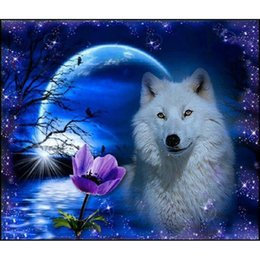Wholesale Room Art Painting - DIY Diamond Painting Embroidery 5D Wolf Pattern Cross Stitch Crystal Square Unfinish Home Bedroom Wall Art Decoration Decor Craft Gift